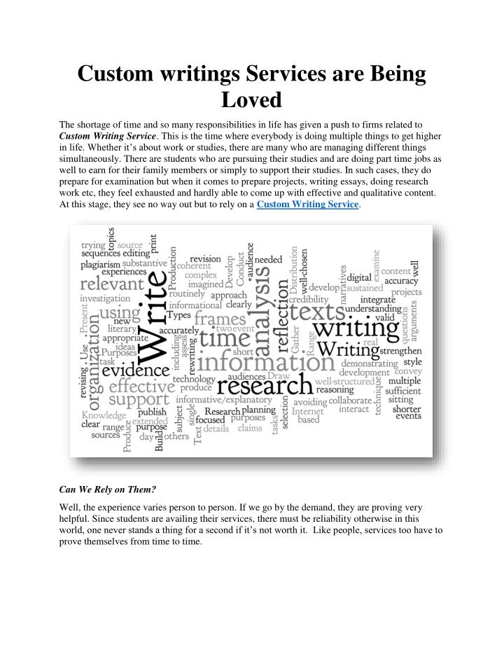 custom writings com We at writingsprocom use professional skills to prepare your custom paper every detail of your essay instructions is observed every detail of your essay instructions is observed our custom papers do not have any plagiarised ideas or text and authenticity is gauranteed.