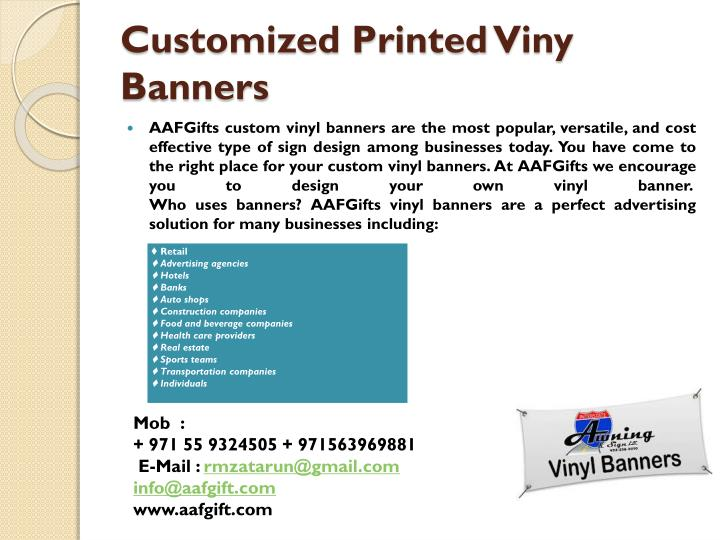 Customized printed viny banners