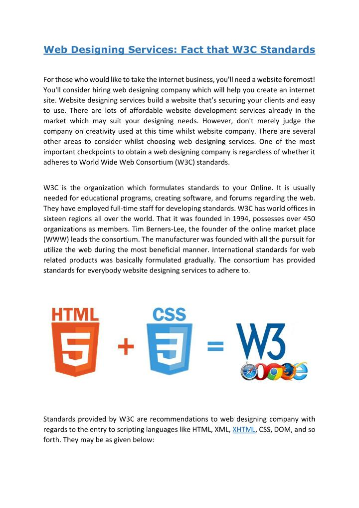 Ppt Web Designing Services Fact That W3c Standards Powerpoint Presentation Id 7352353
