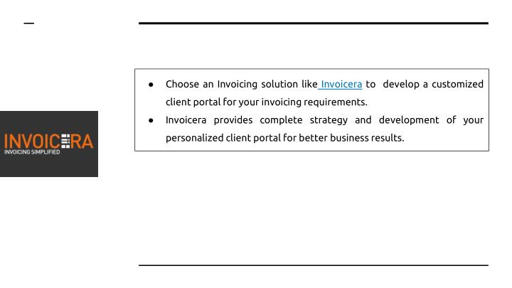 Choose an Invoicing solution like