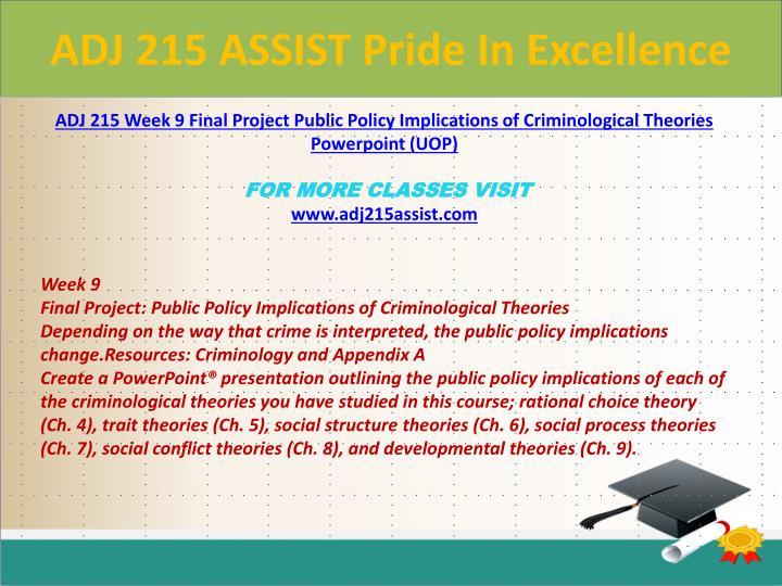 ADJ 215 ASSIST Pride In Excellence