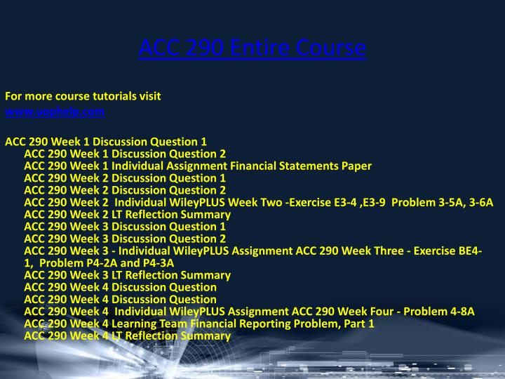 acc 290 week 1 assignment financial