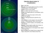 celestial objects taken in consideration