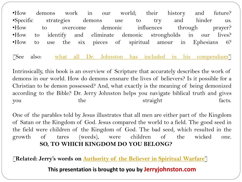 PPT - Christians and Demons: An Amazing Compendium by Dr  Jerry