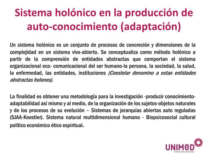Sistema holónico en la producción de auto-conocimiento (adaptación)