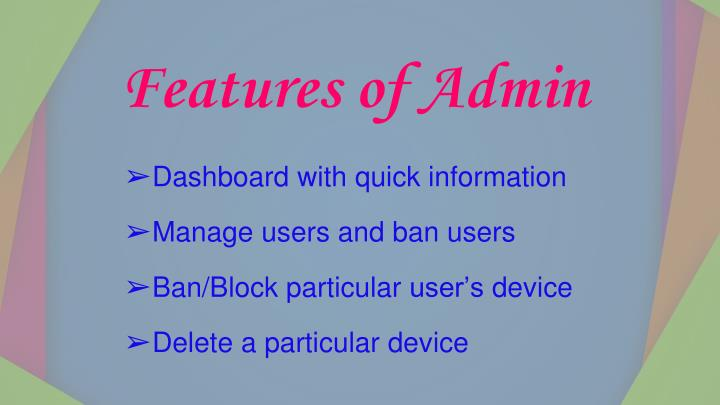 Features of Admin