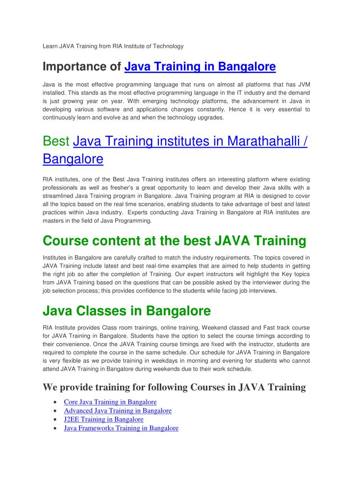 Learn JAVA Training from RIA Institute of Technology