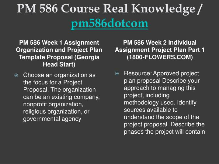 course project week 6 pm586 For more course tutorias visit\nwwwpm586com\npm 586 week 1 assignment organization and project plan template proposal (1800-flowerscom) choose an organization as the focus for a project proposal.