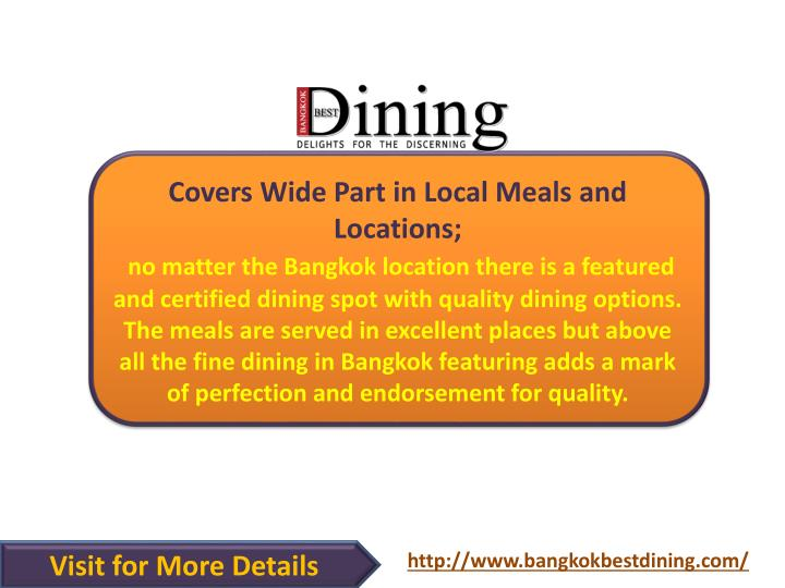 Covers Wide Part in Local Meals and Locations;