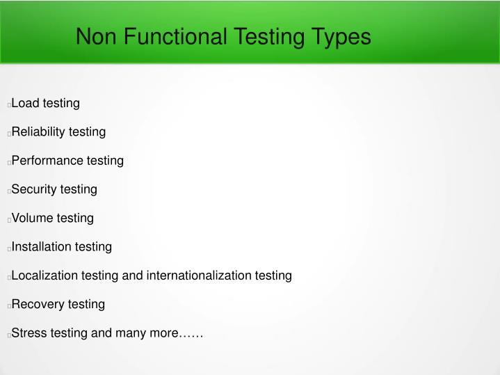 Non Functional Testing Types