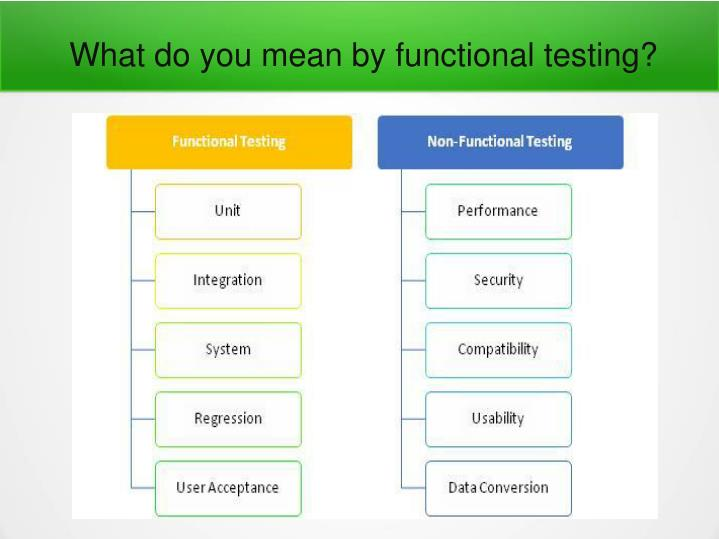 What do you mean by functional testing?