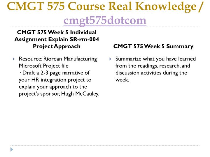 CMGT 575 Course Real Knowledge /