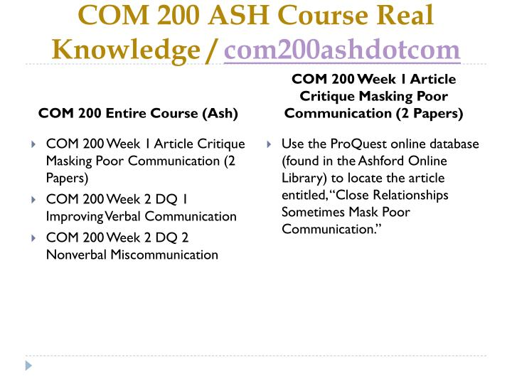 com200 wk1 assign 1 Com 200 week 1 assignment to purchase this visit here: contact us at: help@coursehomeworkcom com 200 week 1 assignment.