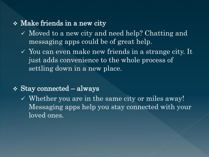 Make friends in a new city