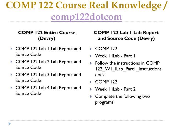 Comp 122 course real knowledge comp122dotcom1