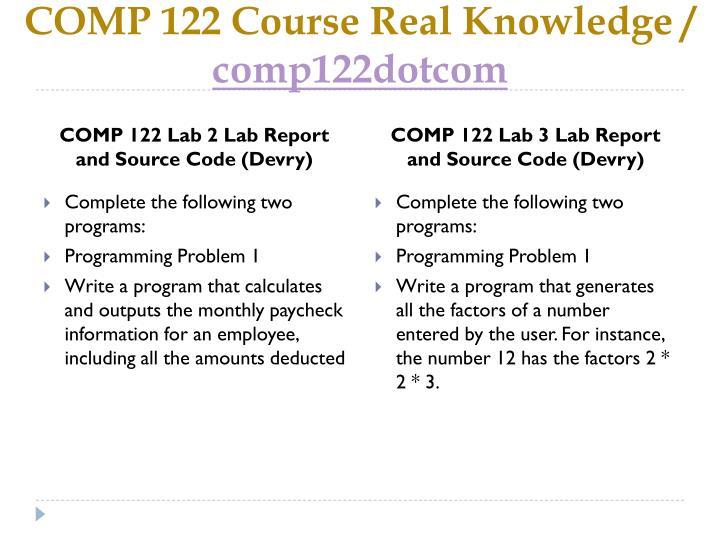 Comp 122 course real knowledge comp122dotcom2