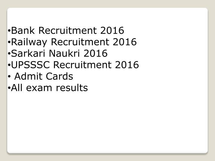 Bank Recruitment 2016