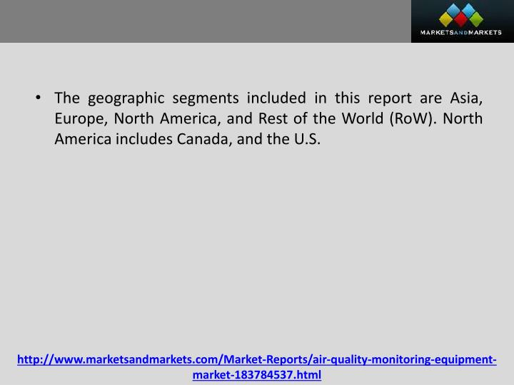 The geographic segments included in this report are Asia, Europe, North America, and Rest of the World (
