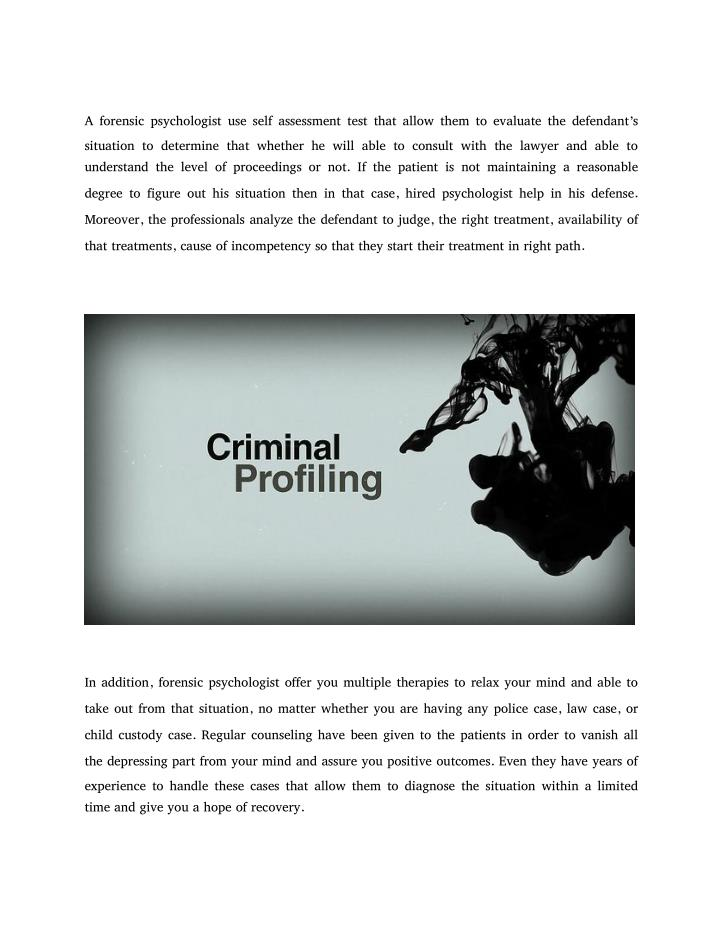 the role of forensic psychologists