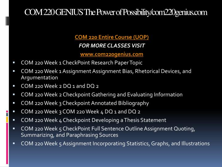 Com 220 genius the power of possibility com220genius com1