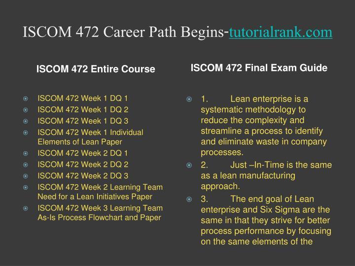 Iscom 472 career path begins tutorialrank com1