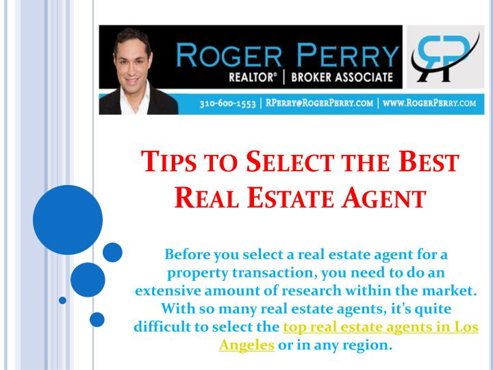 tips to select the best real estate agent n.