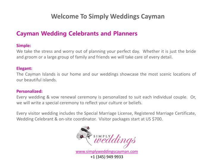 Welcome To Simply Weddings Cayman