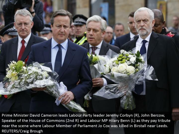 Prime Minister David Cameron drives Labor Party pioneer Jeremy Corbyn (R), John Bercow, Speaker of the House of Commons (second R) and Labor MP Hilary Benn (L) as they pay tribute close to the scene where Labor Member of Parliament Jo Cox was killed in Birstall close Leeds. REUTERS/Craig Brough