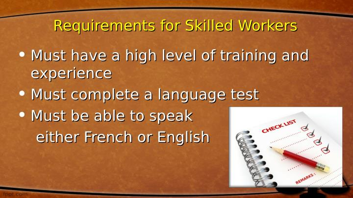 Requirements for Skilled Workers