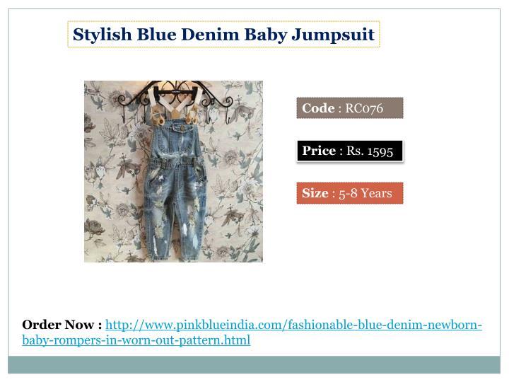 Stylish Blue Denim Baby Jumpsuit