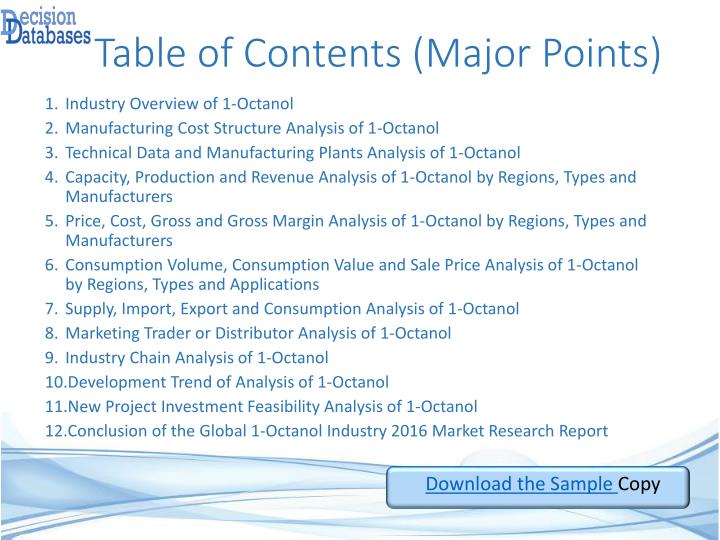 Table of Contents (Major Points)