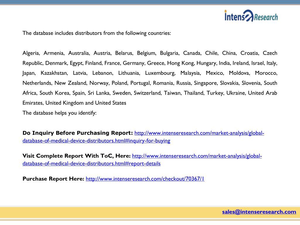 PPT - Global Database of Medical Device Distributors Market