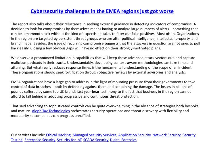 Cybersecurity challenges in the EMEA regions just got worse