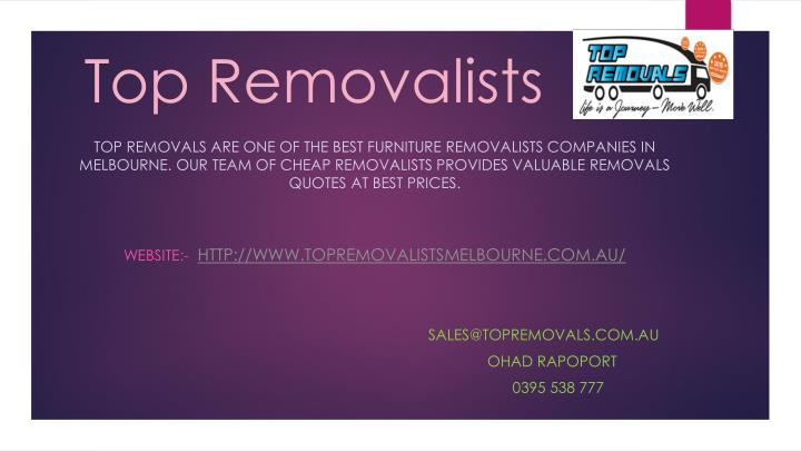top removalists n.