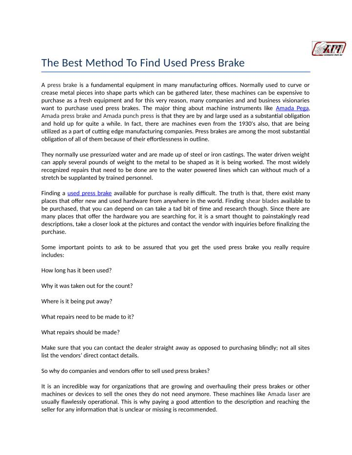 The Best Method To Find Used Press Brake
