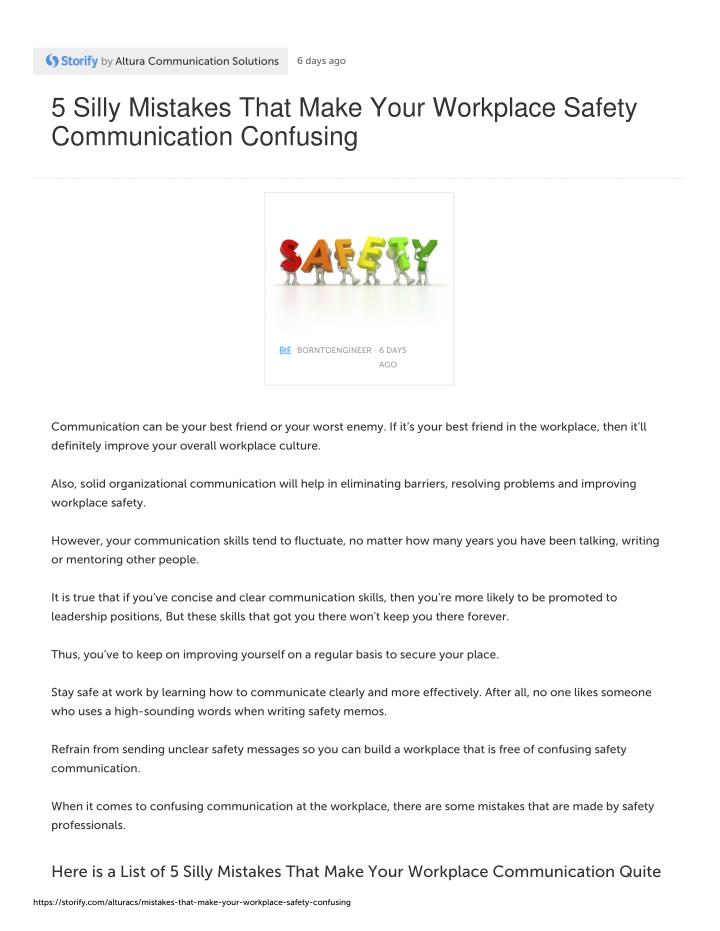 PPT - 5 Silly Mistakes That Make Your Workplace Safety