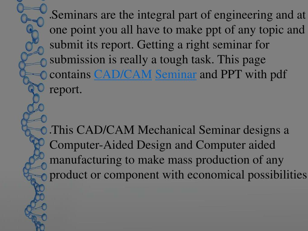 Ppt Cad Cam Mechanical Seminar Powerpoint Presentation Free Download Id 7358804