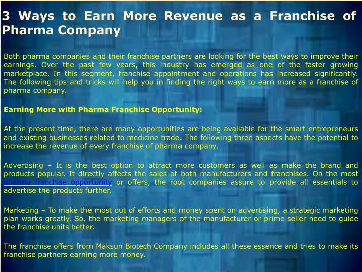 3 Ways to Earn More Revenue as a Franchise of Pharma Company