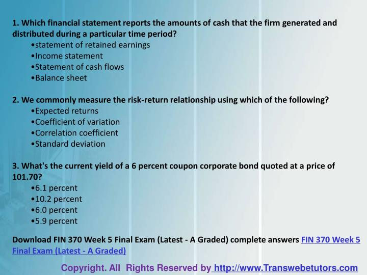 fin 370 final exam Essays - largest database of quality sample essays and research papers on answers here free fin 370 final exam.