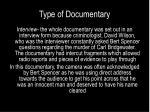 type of documentary
