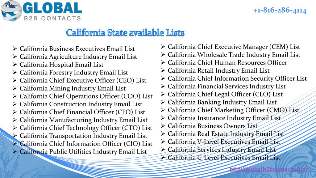 PPT - California State Business Email & Mailing List