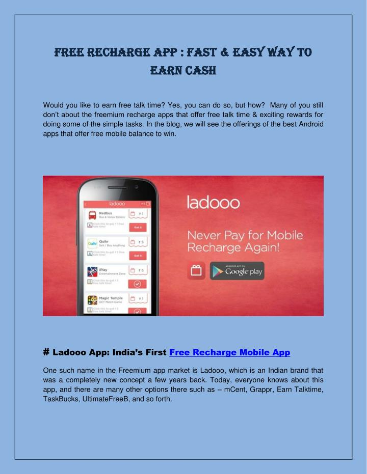 PPT - Free Recharge App : Fast & Easy Way to Earn Cash PowerPoint