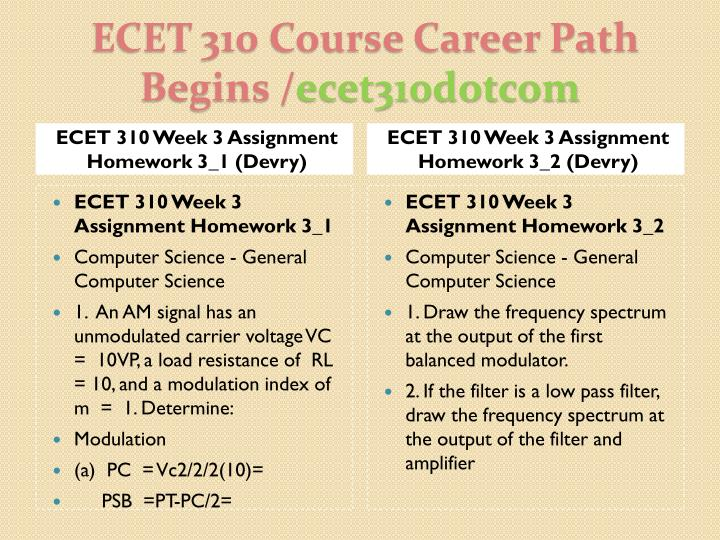 ECET 310 Week 3 Assignment Homework 3_1 (Devry)