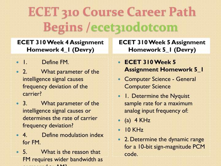 ECET 310 Week 4 Assignment Homework 4_1 (Devry)