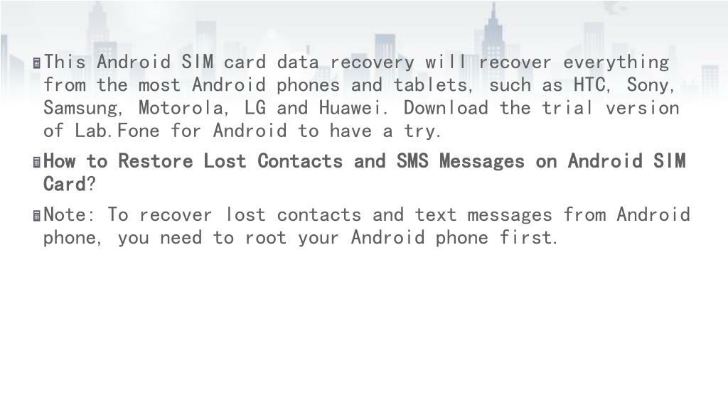 PPT - Recover Deleted Contacts/Text Messages from Android