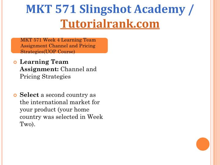 MKT 571 Slingshot Academy /