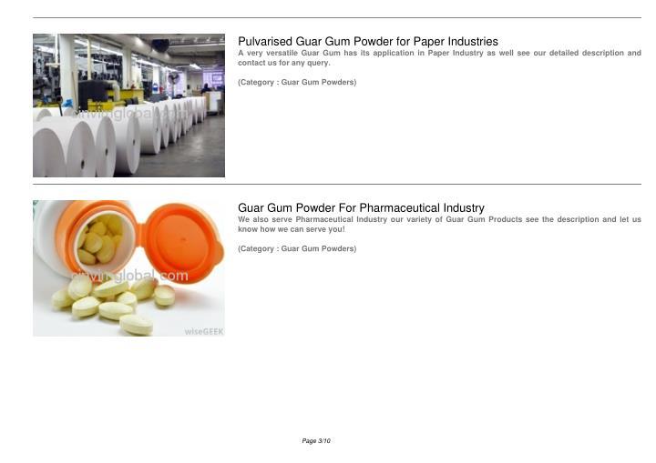 Pulvarised Guar Gum Powder for Paper Industries
