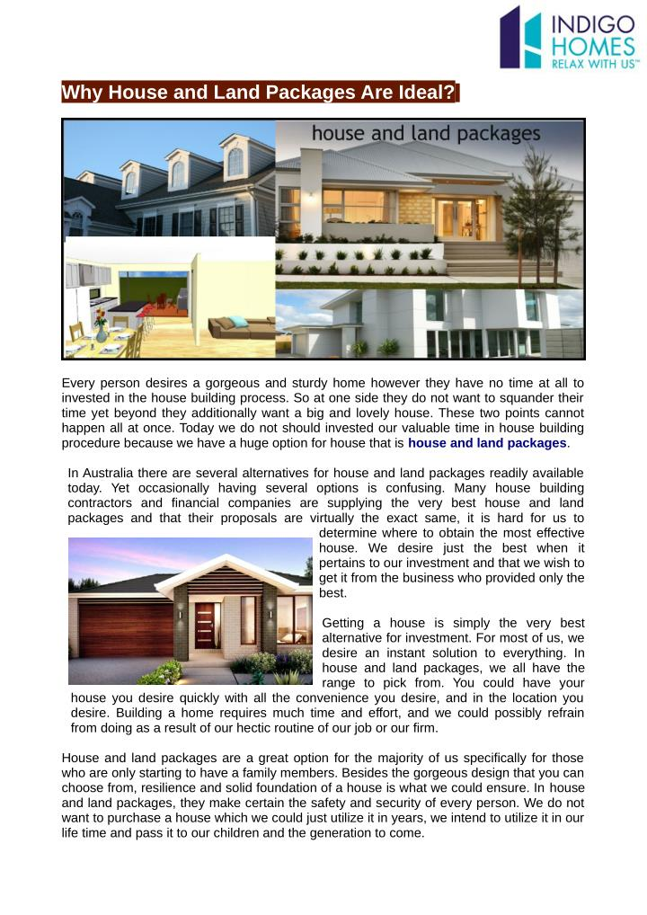 Why House and Land Packages Are Ideal?