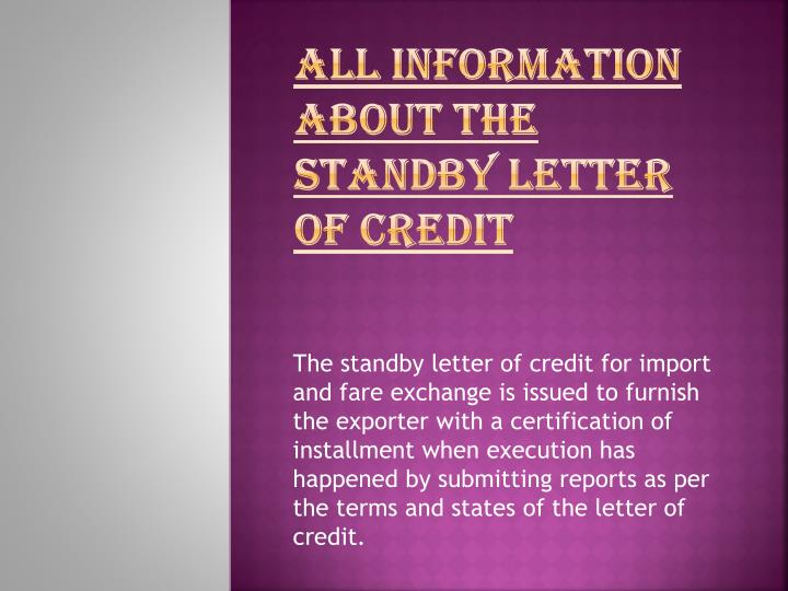 All information about the standby letter of credit