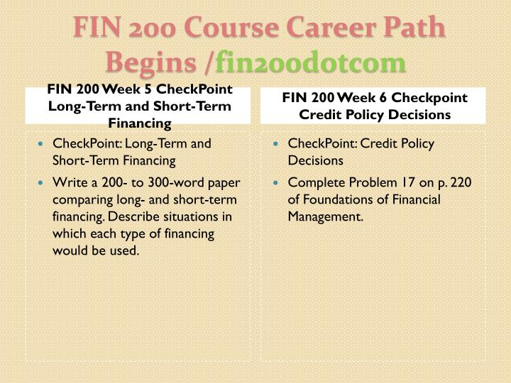 fin 200 week 7 checkpoint short term financing Read this essay on fin 200 course real knowledge / fin200dotcom dq 1 & dq 2 fin 200 week 7 checkpoint short-term financing fin 200 week 7 assignment.